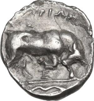 reverse: Southern Lucania, Thurium. AR Obol, 350-300 BC