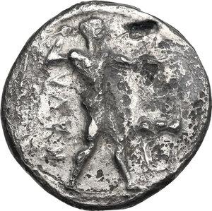 obverse: Bruttium, Kaulonia. AR Stater, c. 475-425 BC