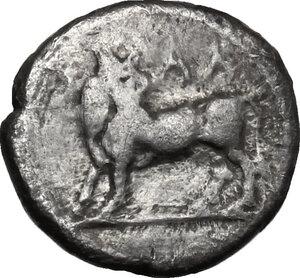 obverse: Bruttium, Laus. AR Triobol, c. 480-460 BC