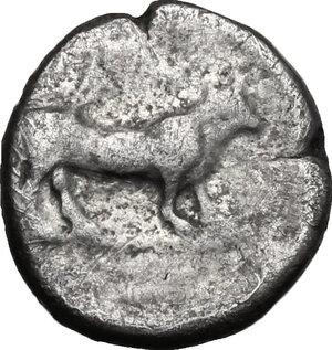 reverse: Bruttium, Laus. AR Triobol, c. 480-460 BC