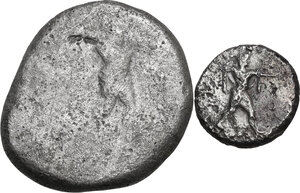 obverse: Greek Italy. Multiple lot of two (2) AR denominations of Poseidonia, 5th century BC
