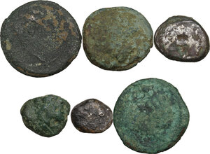 obverse: Greek Italy. Pre-roman coinage.. Multiple lot of six (6) unclassified AR/AE coins
