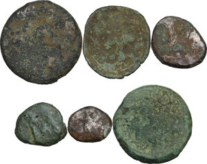 reverse: Greek Italy. Pre-roman coinage.. Multiple lot of six (6) unclassified AR/AE coins