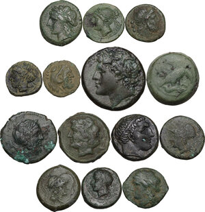obverse: Greek Italy and Greek Sicily.. Multiple lot of fourteen (14) AE denominations, c. 5th-2nd century BC, including: Himera, Akragas, Vibo Valentia, Syracuse, Solus, the Brettii, Cales and Poseidonia