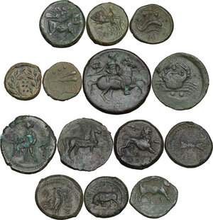 reverse: Greek Italy and Greek Sicily.. Multiple lot of fourteen (14) AE denominations, c. 5th-2nd century BC, including: Himera, Akragas, Vibo Valentia, Syracuse, Solus, the Brettii, Cales and Poseidonia