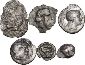 obverse: Greek Italy and Greek Sicily.. Multiple lot of six (6) AR fractions, including: Thurium, Katane, Himera and Rhegion