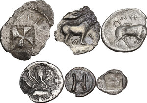 reverse: Greek Italy and Greek Sicily.. Multiple lot of six (6) AR fractions, including: Thurium, Katane, Himera and Rhegion