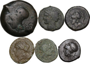 obverse: Greek Italy and Greek Sicily.. Multiple lot of six (6) AE denominations, including: Syracuse, Cales, Paestum, Punic Sicily and Neapolis