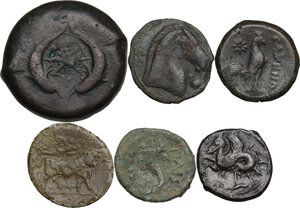 reverse: Greek Italy and Greek Sicily.. Multiple lot of six (6) AE denominations, including: Syracuse, Cales, Paestum, Punic Sicily and Neapolis