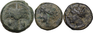 obverse: Greek World. Multiple lot of three (3) AE denominations, including Carthage and Punic Sicily
