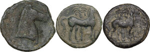 reverse: Greek World. Multiple lot of three (3) AE denominations, including Carthage and Punic Sicily