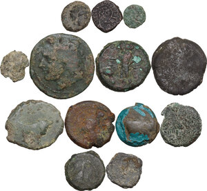 obverse: Greek World. Multiple lot of thirteen (13) unclassified AE denominations, including: Arpi, Metapontum and Judea