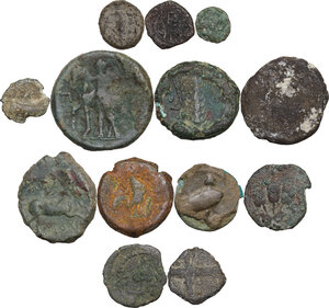 reverse: Greek World. Multiple lot of thirteen (13) unclassified AE denominations, including: Arpi, Metapontum and Judea