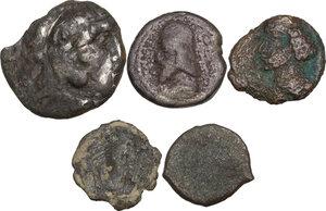 obverse: Greek World.. Multiple lot of five (5) unclassified greek coins