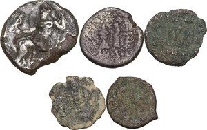 reverse: Greek World.. Multiple lot of five (5) unclassified greek coins