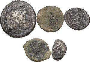 obverse: Greek World.. Multiple lot of five (5) unclassified greek coins, include (1) AR fraction