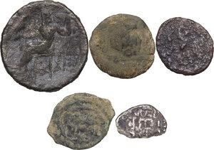 reverse: Greek World.. Multiple lot of five (5) unclassified greek coins, include (1) AR fraction