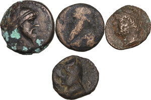 obverse: Greek Asia. Kings of Parthia. Multiple lot of four (4) unclassified AE coins, different denominations c. 1st. cent. BC-2nd cent. AD, inlcuding (1) Kings of Parthia, Mithradates I, AE Unit (R)