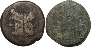 obverse: The Roman Republic. Lot of two (2) unclassified AE Asses