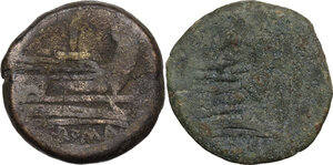 reverse: The Roman Republic. Lot of two (2) unclassified AE Asses