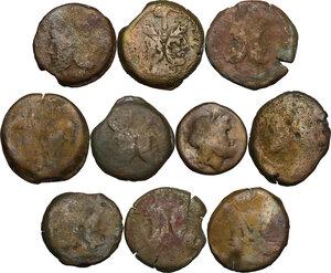 obverse: The Roman Republic. Multiple lot of ten (10) unclassified AE Asses (one Semis)