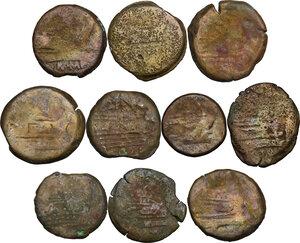 reverse: The Roman Republic. Multiple lot of ten (10) unclassified AE Asses (one Semis)