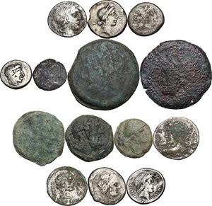 obverse: The Roman Republic. Multiple lot of fourteen (14) unclassified AR/AE coins