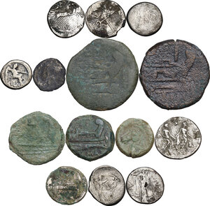 reverse: The Roman Republic. Multiple lot of fourteen (14) unclassified AR/AE coins