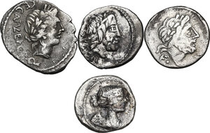 obverse: The Roman Republic. Multiple lot of four (4) AR Quinarii (Cr. 341/3, 332/1, 348/4 and 333/1)