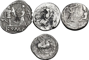 reverse: The Roman Republic. Multiple lot of four (4) AR Quinarii (Cr. 341/3, 332/1, 348/4 and 333/1)