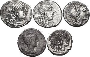 obverse: The Roman Republic. Multiple lot of five (5) AR Denarii (Cr. 231/1, 275/1, 299/1a, 238/1 and 394/1)