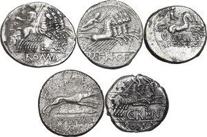 reverse: The Roman Republic. Multiple lot of five (5) AR Denarii (Cr. 231/1, 275/1, 299/1a, 238/1 and 394/1)
