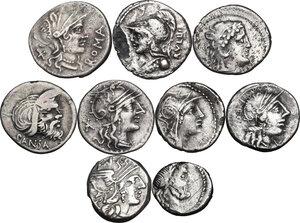 obverse: The Roman Republic. Multiple lot of nine (9) AR Coins: 8 Denarii and 1 AR Quinarius (Cr. 328/1, 385/2, 231/1, 275/1, 449/1, 337/1, 285/1, 283/1b and 345/2)