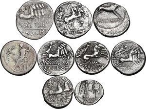 reverse: The Roman Republic. Multiple lot of nine (9) AR Coins: 8 Denarii and 1 AR Quinarius (Cr. 328/1, 385/2, 231/1, 275/1, 449/1, 337/1, 285/1, 283/1b and 345/2)