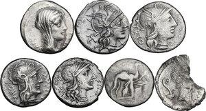 obverse: The Roman Republic. Multiple lot of seven (7) AR Denarii, including broken Denarius of Julius Caesar (M. Mettius moneyer)