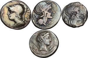 obverse: The Roman Republic. Multiple lot of four (4) AR Denarii (Cr. 266/1, 302/1, 328/1, 361/1)