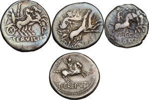 reverse: The Roman Republic. Multiple lot of four (4) AR Denarii (Cr. 266/1, 302/1, 328/1, 361/1)