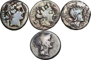 obverse: The Roman Republic. Multiple lot of four (4) AR Denarii (Cr. 273/1, 300/1, 356/1 and 449/3)