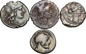 obverse: The Roman Republic. Multiple lot of four (4) AR coins: 3 Denarii (Cr. 233/1, 345/1 and 512/2) and 1 Denarius serratus (Cr. 282/3)
