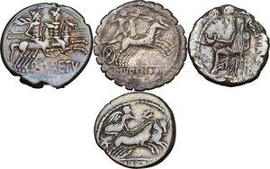 reverse: The Roman Republic. Multiple lot of four (4) AR coins: 3 Denarii (Cr. 233/1, 345/1 and 512/2) and 1 Denarius serratus (Cr. 282/3)