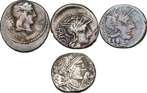 obverse: The Roman Republic. Multiple lot of four (4) AR Denarii, including: Cr. 207/1, 274/1, 285/2, 352/1