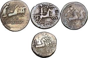 reverse: The Roman Republic. Multiple lot of four (4) AR Denarii, including: Cr. 207/1, 274/1, 285/2, 352/1