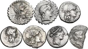 obverse: The Roman Republic. Multiple lot of seven (7) unclassified AR Denarii, including broken denarius of Mark Antony and Octavian (M. Barbatius Pollio)