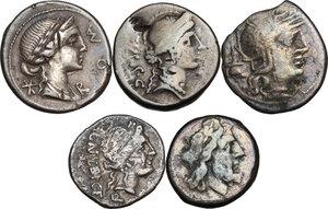 obverse: The Roman Republic. Multiple lot of five (5) AR denominations, including 4 AR Denari: Cr. 252/1, 291/1, 333/1, 463/3 and 1 AR Victoriatus