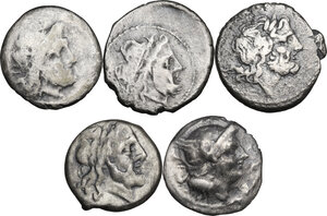 obverse: The Roman Republic. Multiple lot of five (5) AR coins: 4 Victoriati and Quinarius