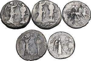 reverse: The Roman Republic. Multiple lot of five (5) AR coins: 4 Victoriati and Quinarius