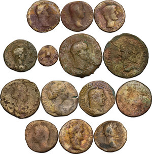 obverse: The Roman Empire.. Multiple lot of fourteen (14) unclassified AE coins