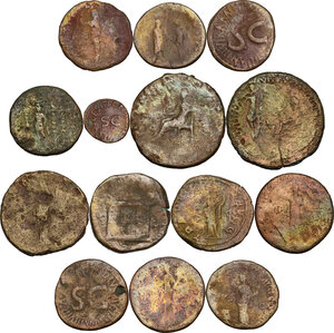 reverse: The Roman Empire.. Multiple lot of fourteen (14) unclassified AE coins