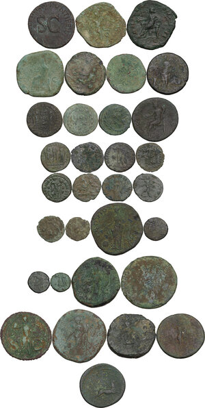 reverse: The Roman Empire.. Multiple lot of thirty-two (32) unclassified AE coins