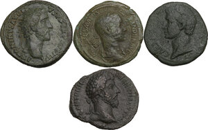 obverse: The Roman Empire.. Multiple lot of four (4) unclassified AE Asses and Dupondius